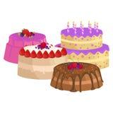 Помадки испекут с различный заполнять, комплект иллюстрации вектора десерта шоколада Стоковые Изображения