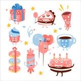 Помадки и атрибуты вечеринки по случаю дня рождения ребенка иллюстрация вектора