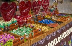 Помадки и конфета для продажи на рынке в Кракове Стоковое фото RF