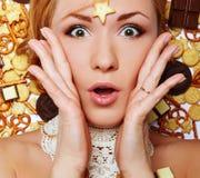 Помадки конфеты печений женщины стиля моды девушки очарования красивые Стоковое Изображение RF