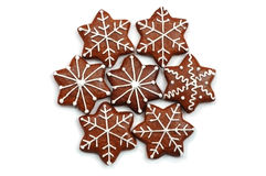 помадки хлеба украшенные рождеством изолированные имбирем Стоковая Фотография RF