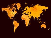 Померанцовая карта мира Стоковое Изображение