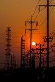 Померанцовое небо захода солнца Стоковое Фото
