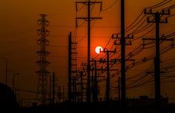 Померанцовое небо захода солнца Стоковое Изображение RF