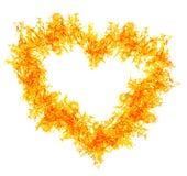 Померанцовое сердце пожара на белизне Стоковые Фотографии RF