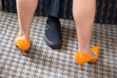 померанцовые ботинки Стоковое фото RF