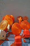 Померанцовые фонарики баррикады Стоковое фото RF