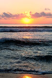померанцовый заход солнца моря Стоковые Фотографии RF