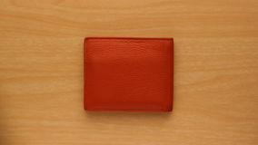 Померанцовый кожаный бумажник Стоковое Изображение RF