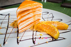 Померанцовый торт Crepe стоковое изображение