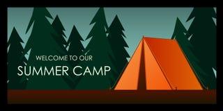 померанцовый шатер Добро пожаловать к нашей предпосылке летнего лагеря Иллюстрация вектора плоская иллюстрация вектора