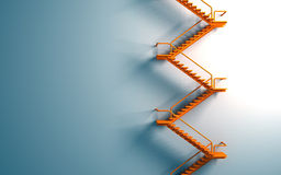 Померанцовый stairway на голубой стене Стоковые Изображения