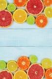 померанцы известок лимонов цитрусовых фруктов Апельсины, известки, грейпфруты, tangerines и лимоны Стоковое фото RF