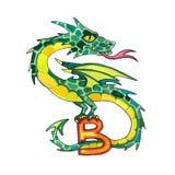 Пометьте буквами алфавит фантазии b кириллический - Azbuka с виверной дракона Стоковые Изображения RF