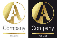 Пометьте буквами золотой логотип Стоковое Изображение