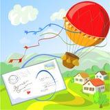 Пометьте буквами и воздушный шар против сельского ландшафта Стоковая Фотография RF