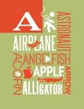 Пометьте буквами плакат алфавита иллюстрации оформления слов a для того чтобы конструировать иллюстрация вектора