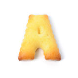 Пометьте буквами a сделал из изолированного печенья шутихи на белой предпосылке Стоковое Изображение RF