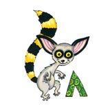 Пометьте буквами l для алфавита фантазии кириллического - Azbuka с милым лемуром Стоковая Фотография