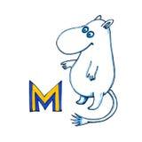 Пометьте буквами m для алфавита фантазии кириллического - Azbuka с милым moomin Стоковые Фото