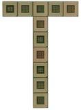 Пометьте буквами t сделанный из старых и пакостных микропроцессоров Стоковое Изображение