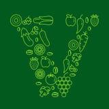 Пометьте буквами v сделанный из фруктов и овощей - вектор запаса иллюстрация вектора