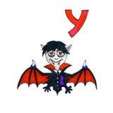 Пометьте буквами y для алфавита фантазии кириллического - Azbuka с милым вампиром Стоковая Фотография RF