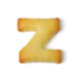 Пометьте буквами z сделанный из изолированного печенья шутихи на белой предпосылке Стоковое Изображение