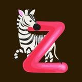 Пометьте буквами z с животным зебры для образования abc детей в preschool Стоковые Фото
