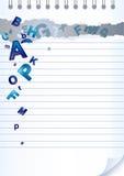 помечает буквами бумагу тетради Стоковая Фотография