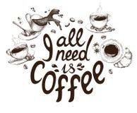 Помечать буквами все мне кофе украшенный с чашками кофе нарисованными рукой Стоковое Изображение