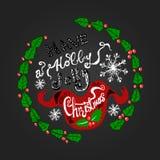 Помечать буквами имеет рождество падуба весёлое иллюстрация вектора