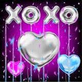 Помечать буквами и confetti баллонов валентинок XOXO металлический иллюстрация вектора