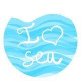 Помечать буквами море влюбленности I Стоковое Фото