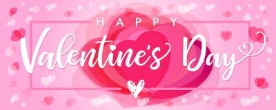 Помечать буквами счастливое знамя сердец пинка дня валентинок Стоковое Фото