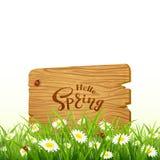 Помечающ буквами здравствуйте! поскачите на острословии предпосылки деревянной доски и природы Стоковое Изображение
