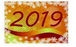 Помечающ буквами 2019 изолированное на творческой предпосылке оранжевого желтого цвета, снежинки иллюстрация вектора