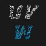 Помечающ буквами установленную нарисованную дизайн-руку Стоковое Изображение
