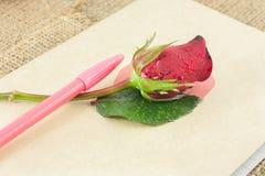 Помещают красные розы и ручку на старой книге Стоковые Фотографии RF