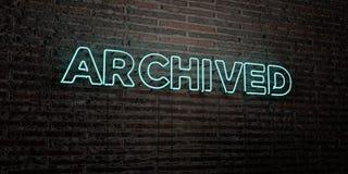 ПОМЕЩЕННОЕ в архив - реалистическая неоновая вывеска на предпосылке кирпичной стены - 3D представило изображение неизрасходованно бесплатная иллюстрация