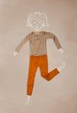 Помещенные одежды в действии с чертежом женщины Стоковые Фото