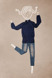 Помещенные одежды в действии с чертежом женщины Стоковое Изображение RF
