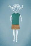 Помещенные одежды в действии с чертежом женщины Стоковые Изображения