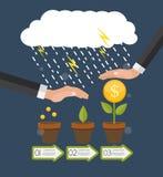 помогать руки Дерево денег, вектор i концепции финансового роста плоский Стоковое Изображение