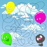 Помогите котенку найти его воздушный шар Лабиринт для детей воспитательные игры Найдите путь также вектор иллюстрации притяжки co стоковые изображения rf