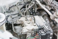 Помойте двигатель с пеной Двигатель в пене для мыть автомобиль Шланги в пене Стоковое Изображение