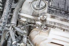 Помойте двигатель с пеной Двигатель в пене для мыть автомобиль Шланги в пене Стоковые Изображения
