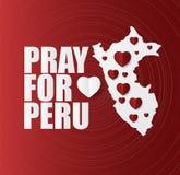 Помолите для Перу, карты и стиль сердца современный, дизайн для поддержки и помощь к людям, призрение, дарят после землетрясения, Стоковая Фотография