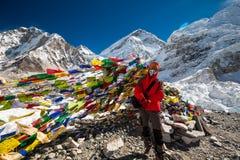 Помолите флаги в базовом лагере Эвереста Стоковая Фотография RF