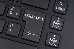 Помощь написанная на клавише на клавиатуре компьютера стоковая фотография